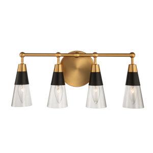 Ponti Matte Black with New Brass Four-Light ADA Bath Vanity