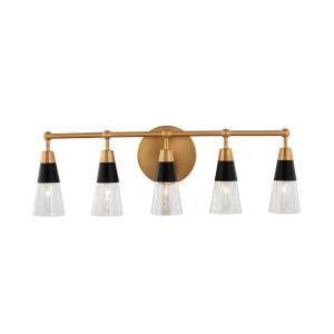 Ponti Matte Black and New Brass Five-Light ADA Bath Vanity