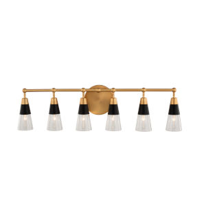 Ponti Matte Black and New Brass Six-Light ADA Bath Vanity