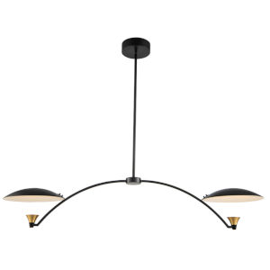 Redding Matte Black with Brass Accent Two-Light LED Chandelier