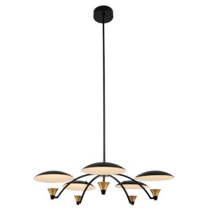 Redding Matte Black with Brass Accent Five-Light LED Chandelier