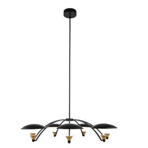 Redding Matte Black with Brass Accent Seven-Light LED Chandelier