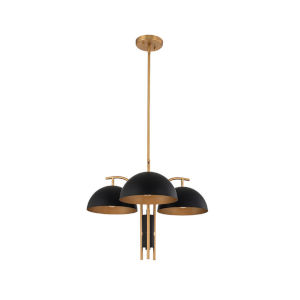 Marcel Matte Black and New Brass Three-Light Chandelier