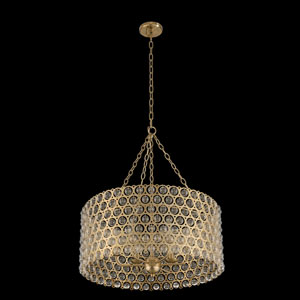Vita Champagne Gold Six-Light Drum Pendant With Firenze Clear Crystal