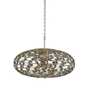 Gemini Champagne Gold Six-Light Pendant With Firenze Clear Crystal