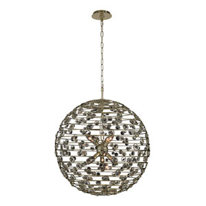 Gemini Champagne Gold Six-Light Globe Pendant With Firenze Clear Crystal