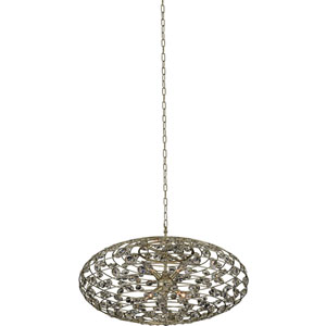 Gemini 32-Inch Champagne Gold Six-Light Pendant With Firenze Clear Crystal