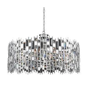 Fonseca Chrome Eight-Light Drum Pendant With Firenze Clear Crystal