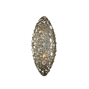 Ciottolo Brushed Champagne Gold Eight-Inch Two-Light Wall Sconce with Firenze Crystal