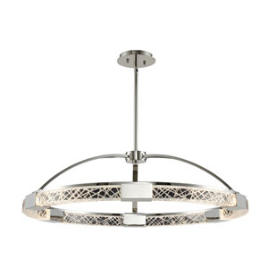 Athena Polished Nickel 32-Inch LED Pendant with Firenze Crystal