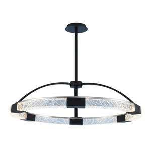 Athena Matte Black with Polished Nickel 32-Inch LED Pendant with Firenze Crystal