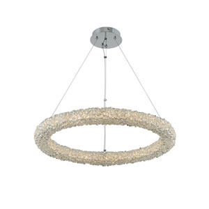 Lina Chrome 26-Inch LED Pendant with Firenze Crystal