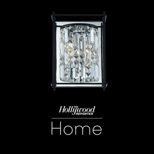 The Hollywood Reporter Joni Matte Black Nine-Inch One-Light Wall Sconce with Firenze Crystal