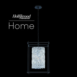 The Hollywood Reporter Joni Matte Black 16-Inch Four-Light Pendant with Firenze Crystal