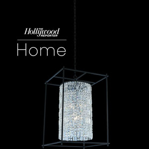 The Hollywood Reporter Joni Matte Black 21-Inch Six-Light Pendant with Firenze Crystal