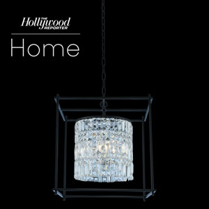 The Hollywood Reporter Joni Matte Black 19-Inch Six-Light Pendant with Firenze Crystal
