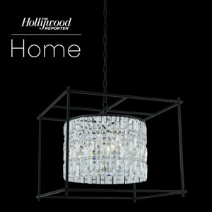The Hollywood Reporter Joni Matte Black 24-Inch Eight-Light Pendant with Firenze Crystal