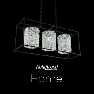 The Hollywood Reporter Joni Matte Black 14-Inch Nine-Light Island Pendant with Firenze Crystal