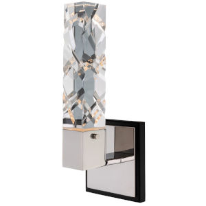 Serres Matte Black Polished Nickel LED Wall Sconce with Firenze Crystal