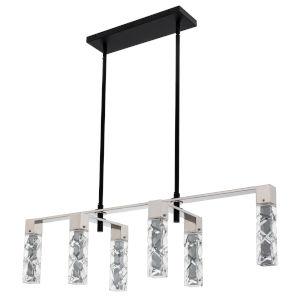 Serres Matte Black Polished Nickel Six-Light LED Island Chandelier with Firenze Crystal