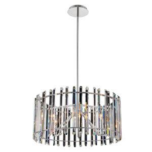 Viano Polished Chrome Six-Light Pendant with Firenze Crystal