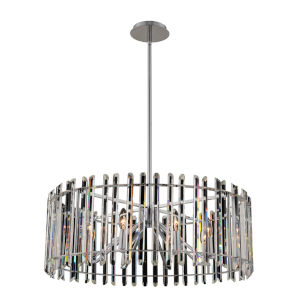 Viano Polished Chrome Eight-Light Pendant with Firenze Crystal
