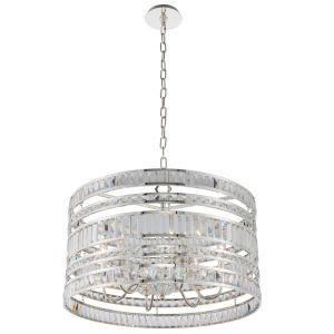 Strato Polished Silver Six-Light Pendant with Firenze Crystal