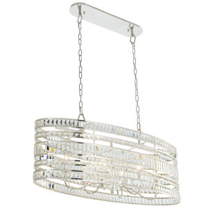 Strato Polished Silver Six-Light Island Chandelier with Firenze Crystal