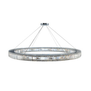 Rondelle Chrome 72-Inch 20-Light Pendant with Firenze Crystal