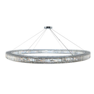 Rondelle Chrome 84-Inch 24-Light Pendant with Firenze Crystal