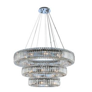 Rondelle Chrome 36-Inch 27-Light Pendant with Firenze Crystal
