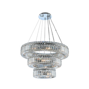 Rondelle Chrome 26-Inch 18-Light Pendant with Firenze Crystal