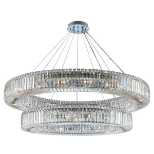 Rondelle Chrome 47-Inch 30-Light Pendant with Firenze Crystal