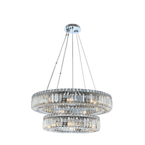 Rondelle Chrome 26-Inch 15-Light Pendant with Firenze Crystal