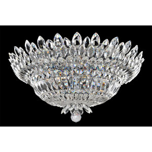 Belluno Chrome Nine-Light Flush Mount with Firenze Clear Crystal