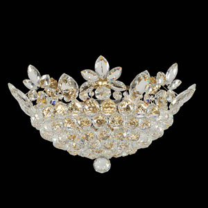 Treviso 18K Gold Eight-Light Flush Mount with Firenze Clear Crystal