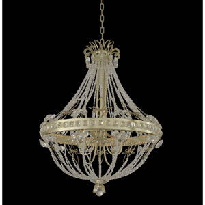 Orleans Champagne Silver Leaf Eight-Light Chandelier with Firenze Clear Crystal