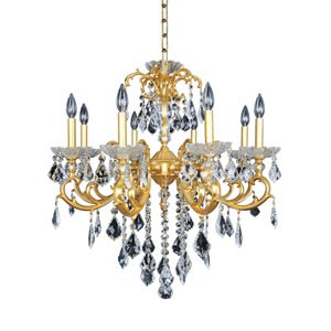 Praetorius French 24K Gold Eight-Light Chandelier with Firenze Clear Crystal