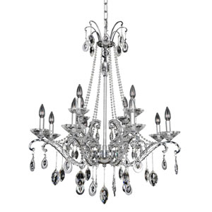 Torrelli Chrome 12-Light Chandelier with Firenze Clear Crystal