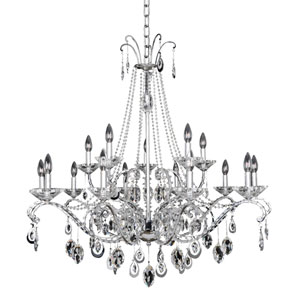 Torrelli Chrome 15-Light Chandelier with Firenze Clear Crystal