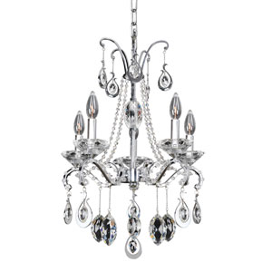 Torrelli Chrome Five-Light Mini Chandelier with Firenze Clear Crystal