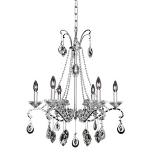 Torrelli Chrome Six-Light Chandelier with Firenze Clear Crystal