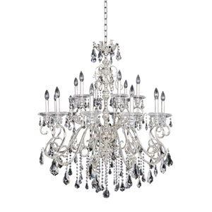 Haydn Silver 18-Light Chandelier with Firenze Clear Crystal