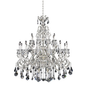 Haydn Silver 24-Light Chandelier with Firenze Clear Crystal
