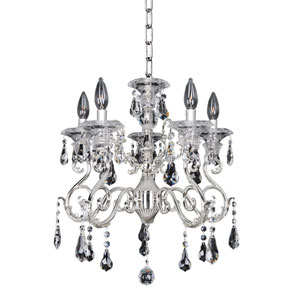 Haydn Silver Five-Light Chandelier with Firenze Clear Crystal