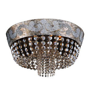 Romanov Antique Silver Leaf Seven-Light 24-Inch Wide Flush Mount with Firenze Fleet Gold Crystal
