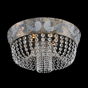 Romanov Antique Silver Leaf Nine-Light Flush Mount with Firenze Fleet Gold Crystal