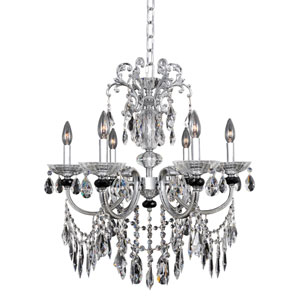 Steffani Chrome Six-Light Chandelier with Firenze Clear Crystal
