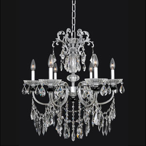 Steffani Chrome Six-Light Chandelier with Swarovski Strass Clear Crystal