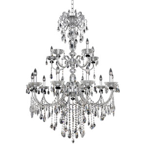 Steffani Chrome 15-Light Chandelier with Firenze Clear Crystal